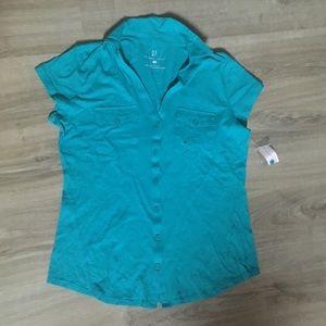Sale! New York &company teal polo button shirt
